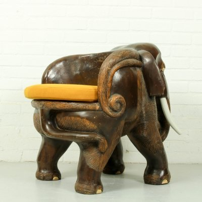 Hardwood Mid Century Carved Elephant Chair, 1960s