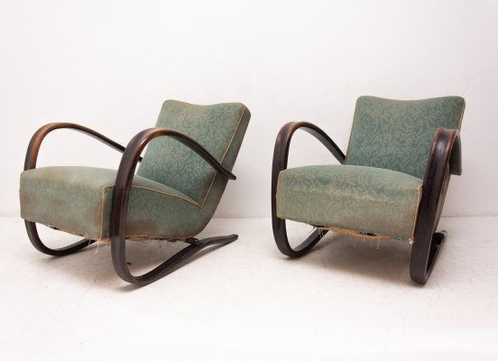 Pair of Lounge bentwood armchairs H-269 by Jindrich Halabala, Czechoslovakia