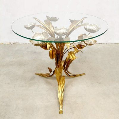 Vintage brass gilt metal & glass side table by Hans Kögl
