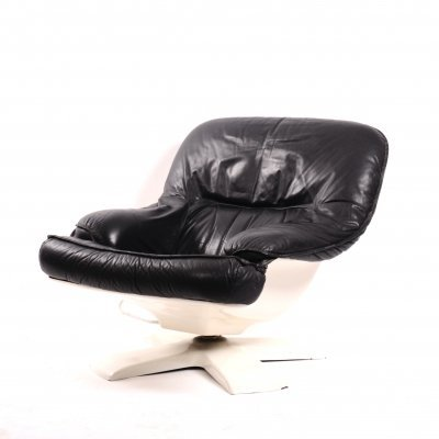 Vintage space age leather reclining lounge chair, 1970s