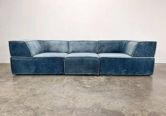 COR Trio sofa in light blue teddy fabric by Team Form AG, 1970s