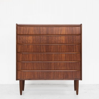 Wider Midcentury Danish chest of 6 drawers in teak with long drawer handles, 1960s