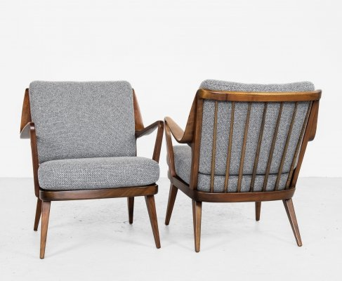 Midcentury pair of easy chairs in beech by Knoll, 1960s