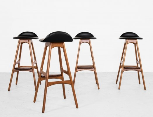 Midcentury Danish set of 4 bar stools in teak & leather by Erik Buch for O. D. Møbler, 1960s