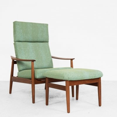 Midcentury lounge chair & ottoman in teak by Arne Vodder for France & Søn, 1960