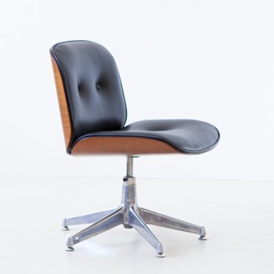 1960s Black Leather Swivel Desk Chair by Ico Parisi for MIM Roma