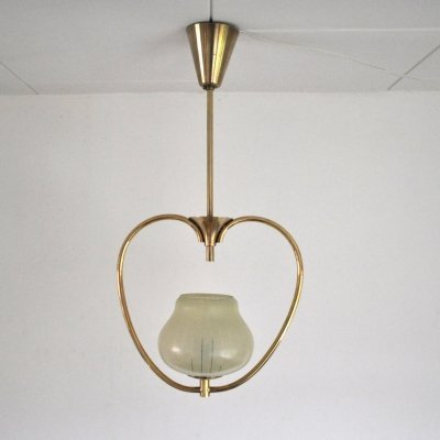 Brass & etched glass Art Deco pendant light with the original canopy