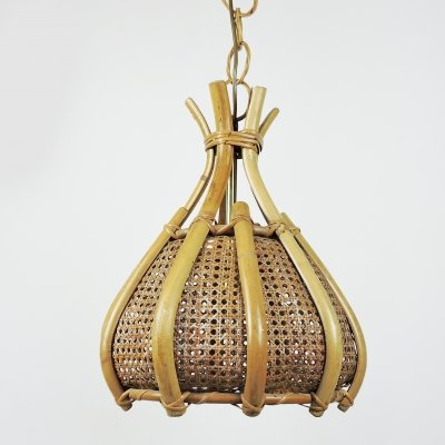 Cane & Wood Pendant Light, 1970s