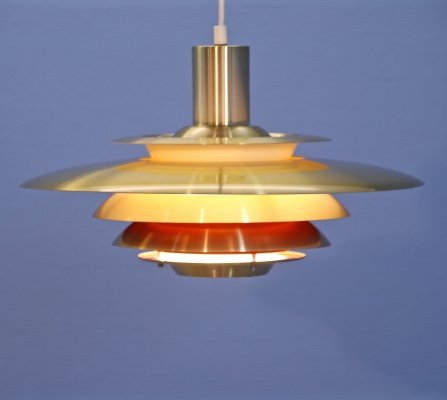 Danish XL hanging lamp in brass with orange/red accent, 1970s