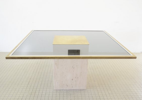 Hollywood regency brass, glass & travertine dining table by Roger Vanhevel