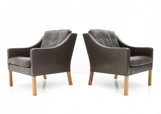 Pair of Model 2207 Børge Mogensen Lounge Chairs, Denmark 1960s