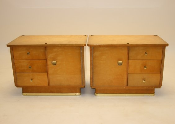 Pair of bedside tables with 3 drawers & a door, 1960s