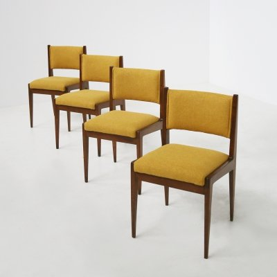 Set of 4 yellow chair by Gianfranco Frattini for Bottega Ghianda, 1960s
