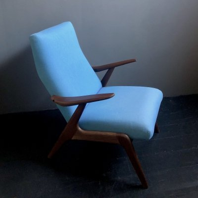 Lounge chair with original ice blue upholstery, 1960s