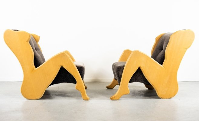 Set of two sculptural 'Woman' & 'Man' body shape crafted lounge chairs