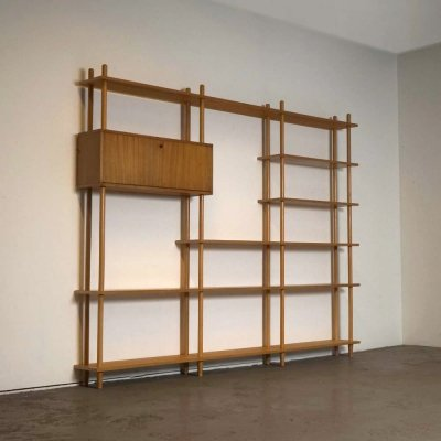 'Stokkenkast' wall unit by W. Lutjens for C. den Boer, Gouda 1960's