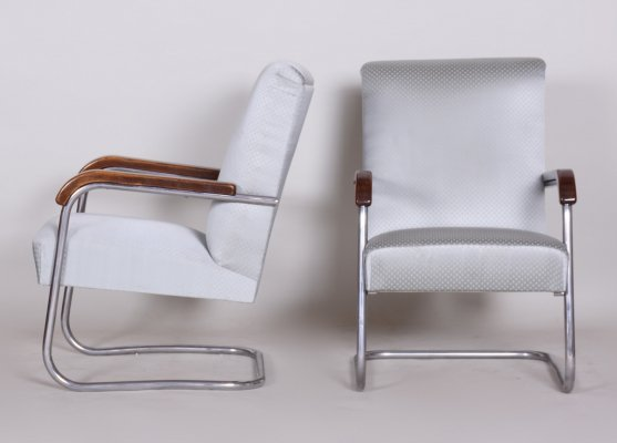 Pair of Grey Tubular Thonet Armchairs by Anton Lorenz, 1930s