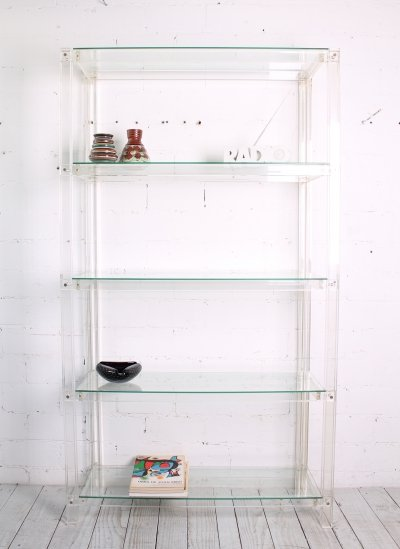 Italian plexiglass shelf, 1970s-1980s