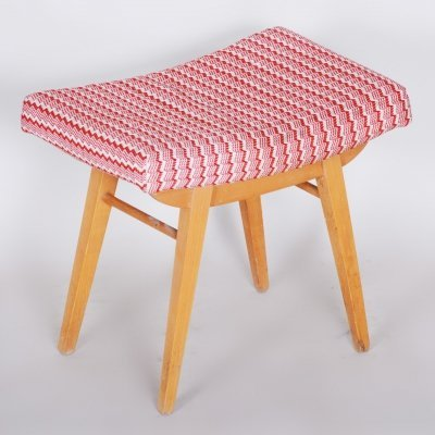 Red & White Mid-Century Beech Stool, 1960s