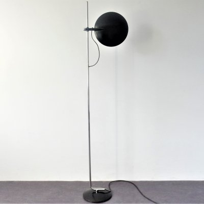 Large black metal halogen floor lamp, 1980's