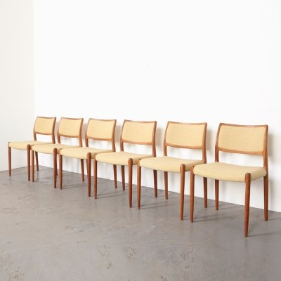 Set of 6 Model 80 Dining Chairs by Niels O. Moller for J.L. Mollers, Denmark 1960s