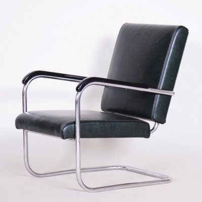 Bauhaus Tubular Chrome-plated Steel Armchair by SAB, 1930s
