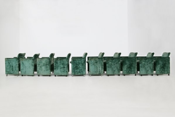 Set of 10 green 'Montebello' chairs by Kazuhide Takahama for Gavina, 1980s