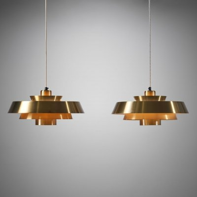 Pair of 'Nova' Pendants by Jo Hammerborg for Fog & Mørup, Denmark 1960s