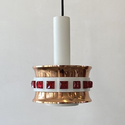 Copper hanging lamp, Denmark 1970s