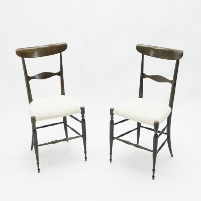 Rare set of 4 Campanino Chiavari walnut chairs by Fratelli Levaggi, 1950