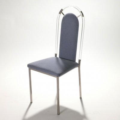 Set of six chairs in Lucite & gunmetal by Maison Jansen, 1970s
