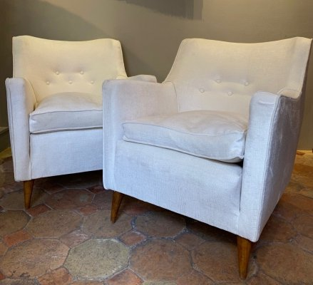 Pair of Gio Ponti armchairs from the transatlantic liner 'Conte Grande', circa 1940