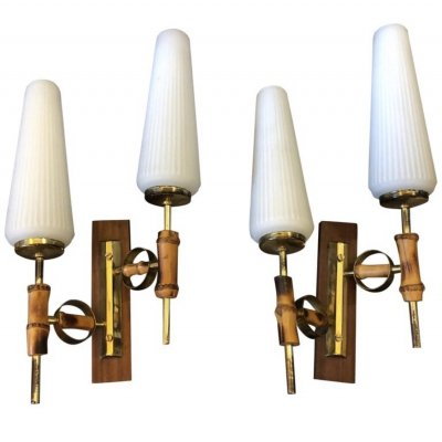 Mid-Century Modern set of two Italian Wall Sconces, circa 1950