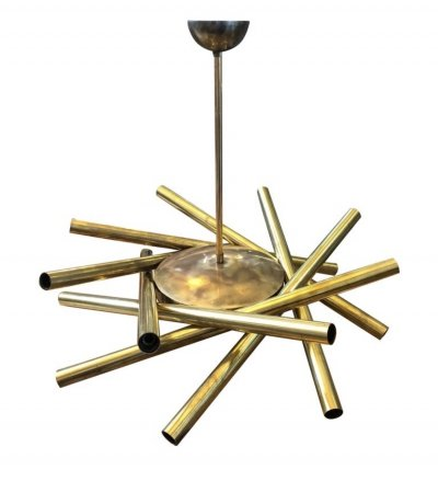 Stilnovo Mid-Century Modern Brass 16-Light Sputnik Chandelier, circa 1950