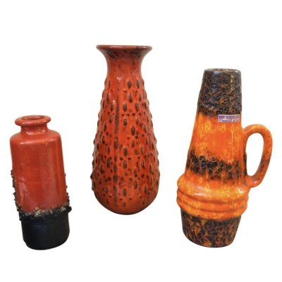 Three Mid-Century Modern Lava Keramik Vases & Pitchers, circa 1970
