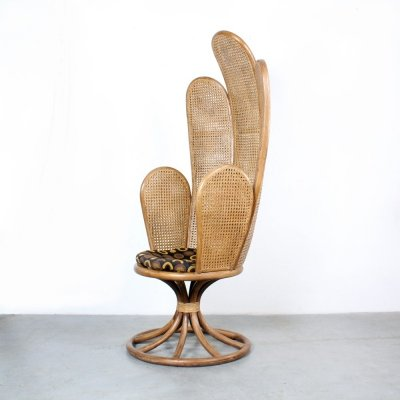 Highback arm chair with rattan webbing, 1970s