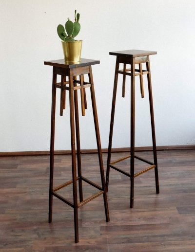 Pair of wooden flower stands, 1940s