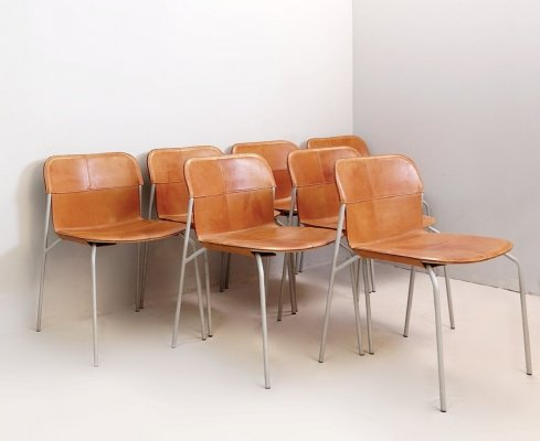 Set of 7 Metal & Cognac leather Chairs by Fasem, Italy 1970s