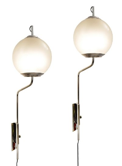9 x Luigi Caccia Dominioni 'Pallone' Nickel Plated Brass Sconce, 1960s