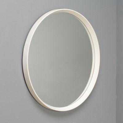 Large round mirror in white, Denmark 1960s