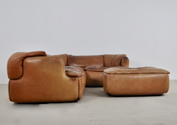 Confidential Sofa & Ottoman by Alberto Rosselli for Saporiti Italia, 1970s