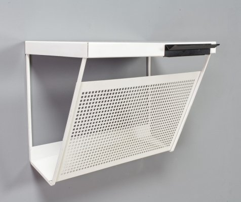 Magazine rack in perforated white metal by Pilastro, 1960s