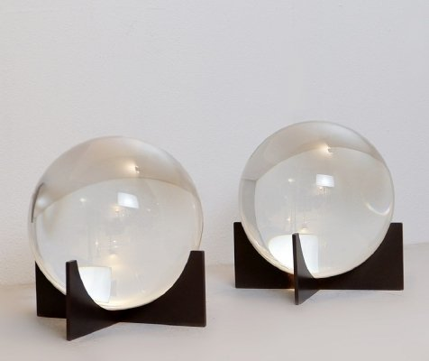 Pair of Glass Spheres On Base, 1960s