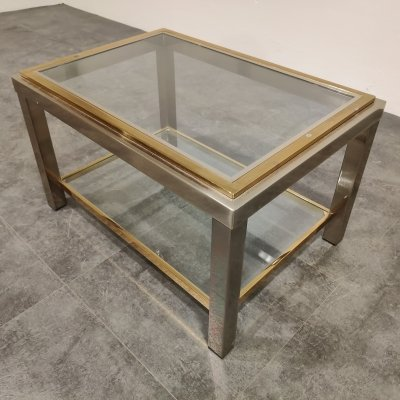 Vintage brass & chrome side table by Belgochrom, 1970s