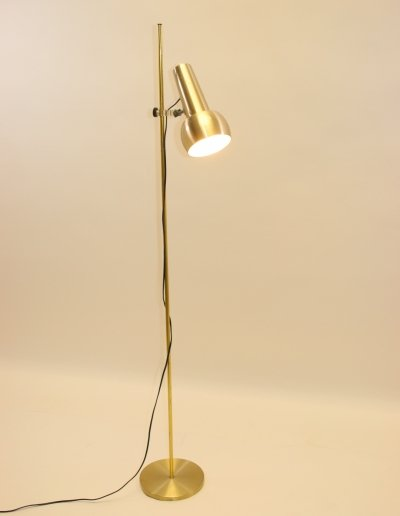 Golden Danish standing floor lamp by Fog & Mørup, 1960s