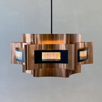 Copper hanging lamp by Coronell Elektro Denmark, 1960s