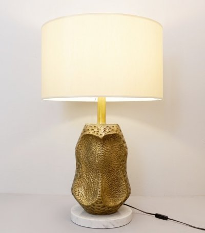 Large Bronze, Marble And Brass Sculpture Table Lamp
