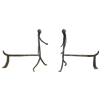 Pair of Wrought Iron Andirons