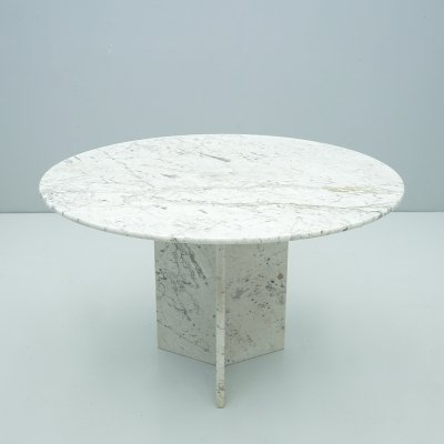 Dining Table in Carrara Marble, Italy 1970s
