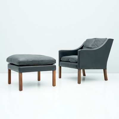 Danish Lounge Chair with Stool by Børge Mogensen